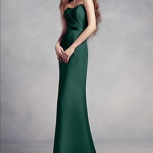 Chiffon gown with lace back and inset